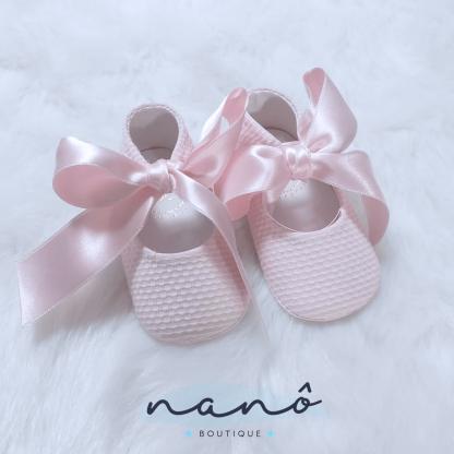 sapatos bebe laço rosa