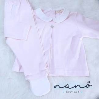 fato bebé de duas peças rosa