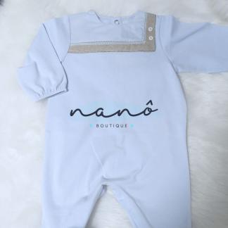 Babygrow azul e cinza